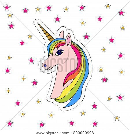 Pink unicorn head with rainbow mane and horn, with stars, isolated on white. Fun cartoon patches icon design illustration with unicorn in 80s-90s style.