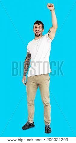 Adult Man Hand Up Smile Expression Studio Portrait