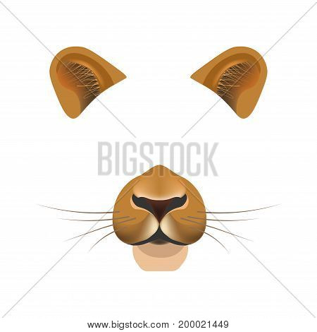 Lion animal face filter template for video chat animated effect or smartphone camera application or cartoon selfie photo mask. Panther pet animals head ears and nose vector flat isolated icon