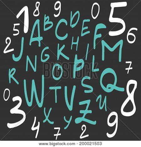 Hand written font. Modern hand lettering style. Full version. Vector illustration