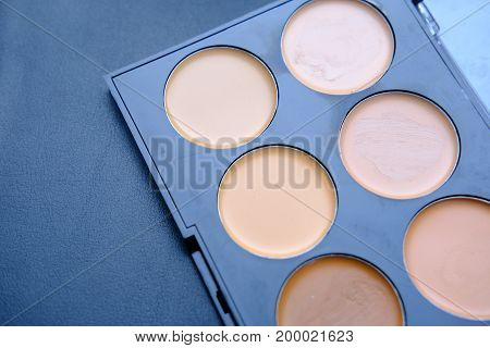 Concealers closeup.Set of decorative cosmetics for makeup, for contouring the face..
