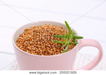 cup of raw buckwheat - close up