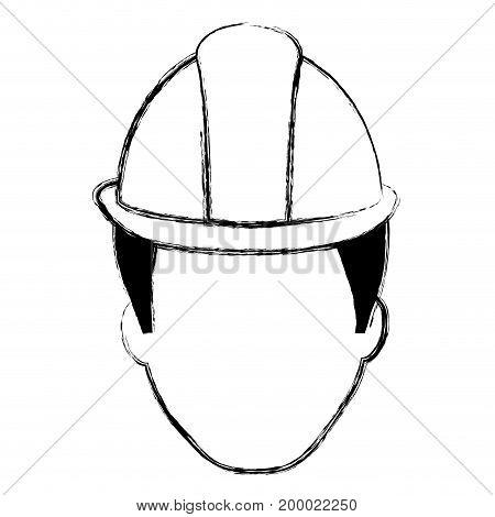 head worker with helmet vector illustration design