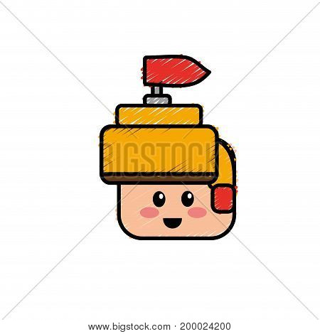 warrior head character to video game technology play vector illustration