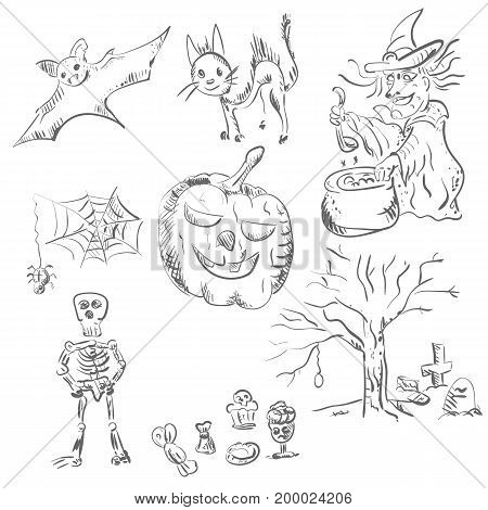 Vector sketches of characters of celebration of Halloween in style of a pencil