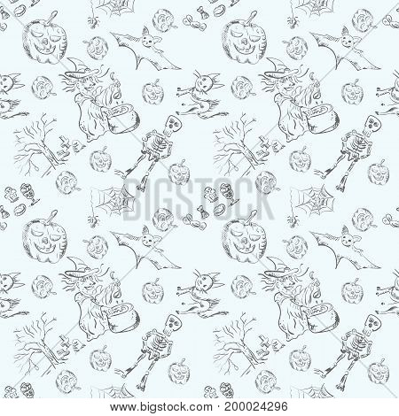 Vector seamless backgrounds of characters of Halloween in style of a pencil