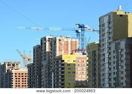 Panorama of the construction of modern residential district .