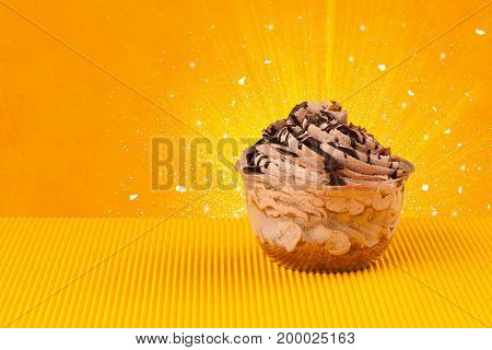 Sparkling tasteful home made sugar cake with coloful background