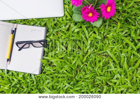 Outdoor workplace and business equipment concept., Business concept