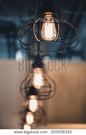 selective focus shot of row of vintage lamps