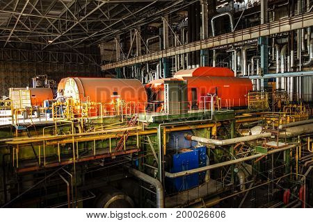 Heavy machinery view inside electric power plant