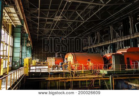 Electric power plant interior view over machinery