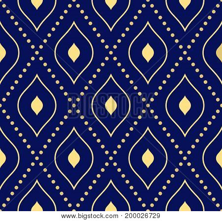 Geometric dotted blue and golden pattern. Seamless abstract modern texture for wallpapers and backgrounds