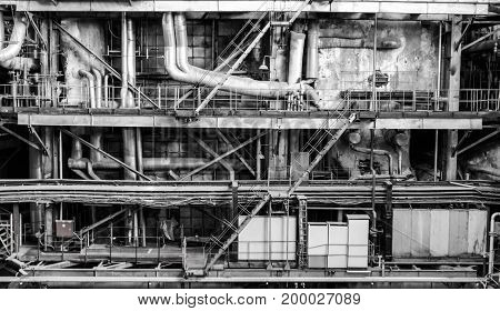 Electric power plant piping and machinery black and white