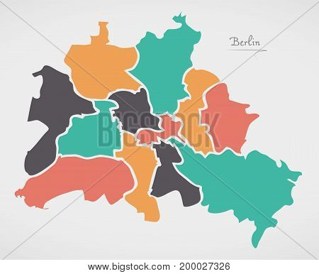 Berlin Map With Boroughs And Modern Round Shapes