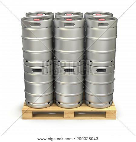 Metal beer kegs on the pallet - 3D illustration