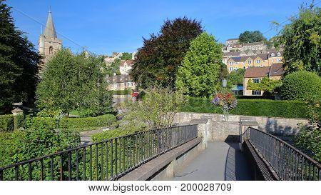 View from McKeever Bridge towards Holy Trinity Church and Tory neighborhood in Bradford on Avon, UK