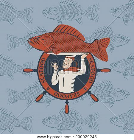 Vector banner for seafood with a handwheel and a smiling chef with the fish on the tray and a tray on his head on the background from fish in the sea