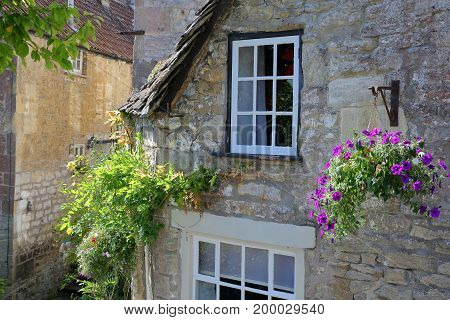 Bradford on Avon, UK - AUGUST 13, 2017: Exterior facade of a house in Tory neighborhood