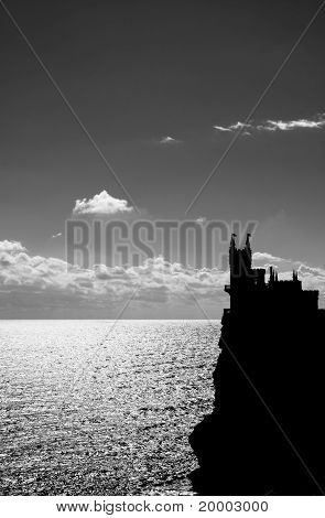 Black and white picture of Swallow's Nest castle