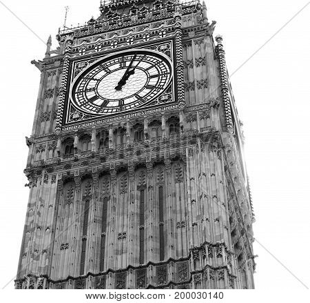 Black and white Big ben clock tower London Westminster Abbey isolated