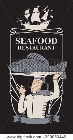 Vector menu for seafood restaurant with the sailboat smiling chef with the fish on the tray and a tray on his head in retro style