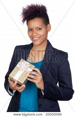 African Girl With A Present