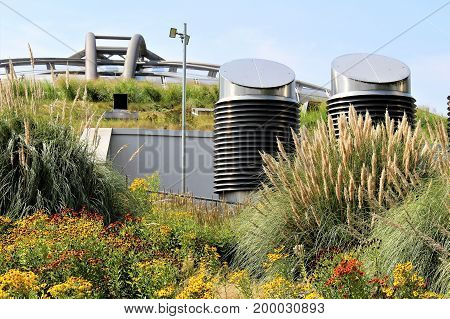 An Image of green Roof on a building