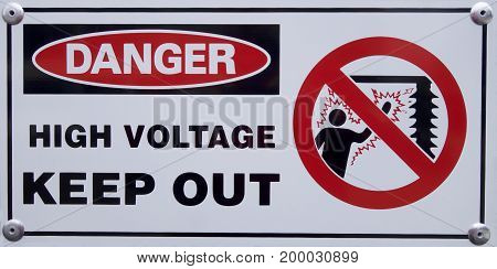 Danger: High Voltage Keep Out sign on a construction site.