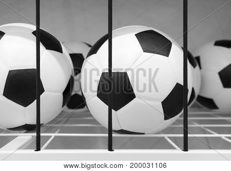 Soccer Balls In Metal Sieve Shelf