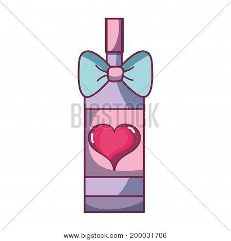 delicious bottle of wine with ribbon bow and heart vector illustration
