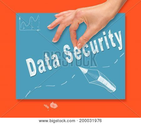 A Hand Picking Up A Data Security Concept On A Colorful Drawing Board.