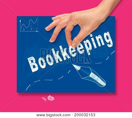 A Hand Picking Up A Bookkeeping Concept On A Colorful Drawing Board.