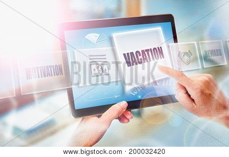 A Businesswoman Selecting A Vacation Business Concept On A Futuristic Portable Computer Screen.