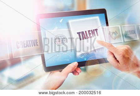 A Businesswoman Selecting A Talent Business Concept On A Futuristic Portable Computer Screen.