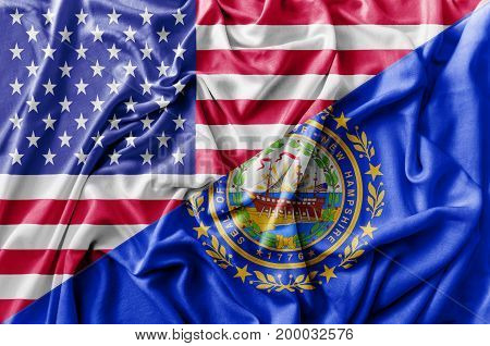 Ruffled waving United States of America and New Hampshire flag