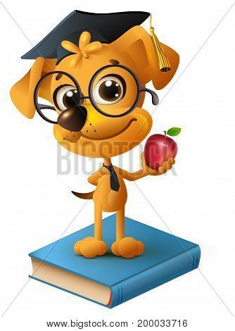 Yellow dog teacher holding red apple. Isolated on white fun vector cartoon illustration