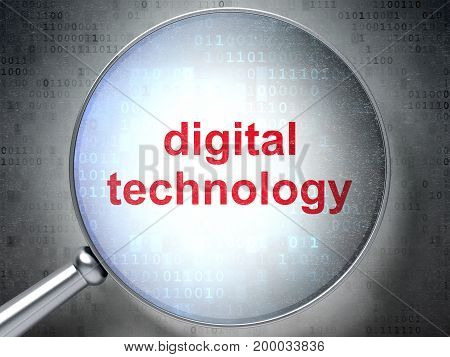 Information concept: magnifying optical glass with words Digital Technology on digital background, 3D rendering