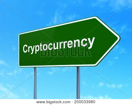 Information concept: Cryptocurrency on green road highway sign, clear blue sky background, 3D rendering
