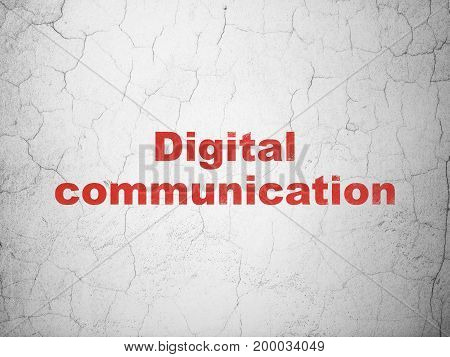 Data concept: Red Digital Communication on textured concrete wall background