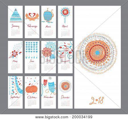 vector decoration hand drawn calendar set holiday