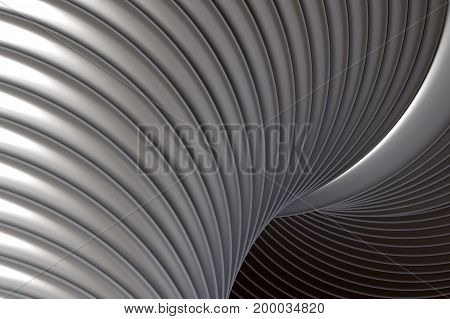 3d rendering of an abstract 3d composition with some white curves