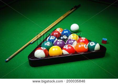 ball, snooker, billiard and pool concept - Billiard balls pool on green table, game