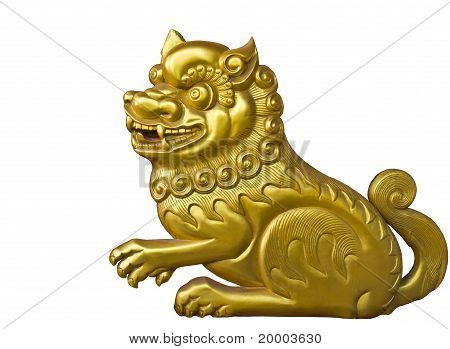 Lion Wood Carve Gold Paint