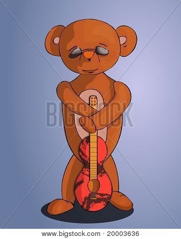 Peaceful Bear In Hand With A Red Guitar