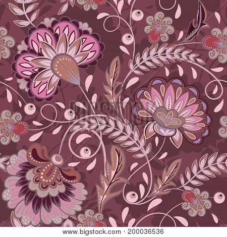 Floral pattern Flourish tiled oriental ethnic background. Purple arabic ornament with fantastic flowers and leaves. Wonderland motives of the paintings of ancient Indian fabric patterns.