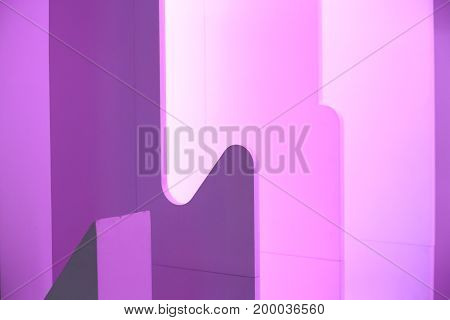 Blurred blue and pink urban background scene