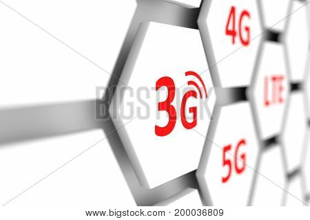 3g wireless internet access blurred background 3D illustration