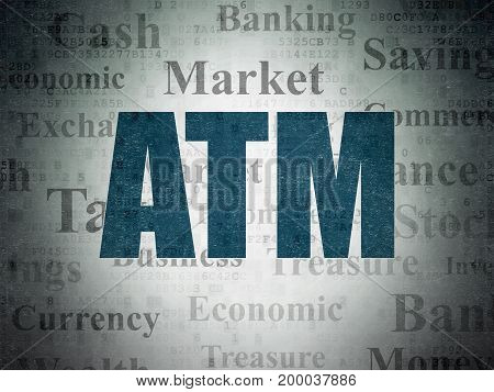 Money concept: Painted blue text ATM on Digital Data Paper background with   Tag Cloud