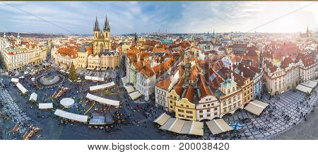 Panoramic view of Prague at Christmas time Czech Republic.
